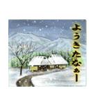 デジタルペンで描く日本の四季のたより墨絵(個別スタンプ:01)