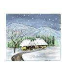 デジタルペンで描く日本の四季の風景の墨絵(個別スタンプ:01)