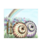 デジタルペンで描く日本の四季の風景の墨絵(個別スタンプ:03)