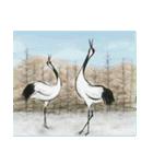 デジタルペンで描く日本の四季の風景の墨絵(個別スタンプ:12)