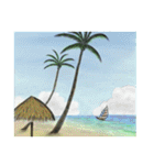 デジタルペンで描く日本の四季の風景の墨絵(個別スタンプ:14)