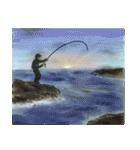 デジタルペンで描く日本の四季の風景の墨絵(個別スタンプ:16)