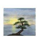 デジタルペンで描く日本の四季の風景の墨絵(個別スタンプ:17)