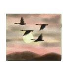 デジタルペンで描く日本の四季の風景の墨絵(個別スタンプ:18)