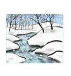 デジタルペンで描く日本の四季の風景の墨絵(個別スタンプ:24)