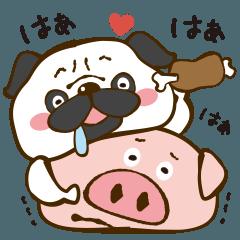 [LINEスタンプ] 肉好きパグ丸の肉づくしスタンプ