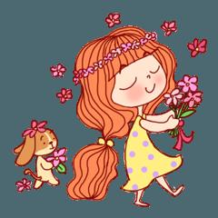 'Cute little girl' and puppy 'kongkong'