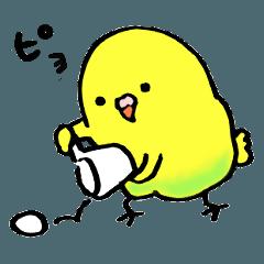 [LINEスタンプ] まるっこい鳥と手おけ