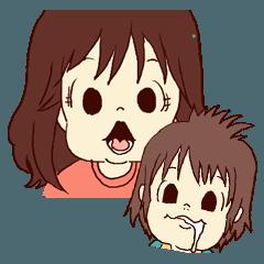 女の子と赤ちゃんの使いやすいスタンプ