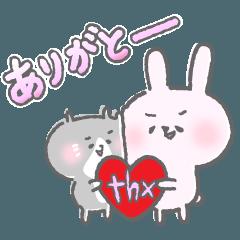 [LINEスタンプ] 仲良しウサギさんとネコさんの日常1