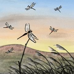 デジタルペンで描く日本の四季の風景の墨絵
