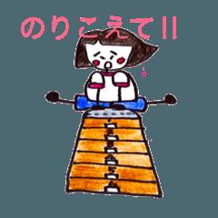 昭和の女の子と奇妙な猫。