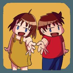 [LINEスタンプ] にぎやか姉弟