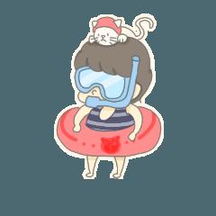 ネコとショートの女の子スタンプ