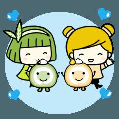 [LINEスタンプ] Matcha & Rosy. タイ語と日本語